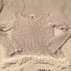 Light grey forever 21 sweater with lace accent